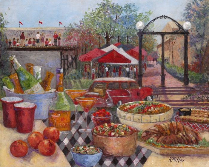 Tailgating Under The Arch painting and print by Kathy Miller