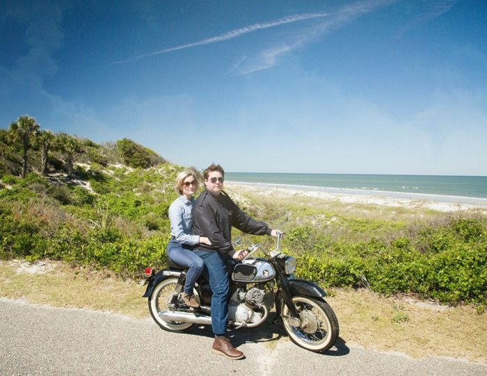 Gloria and Mike Hart on 1965 Honda Dream motorcycle photo by Susan Scarborough