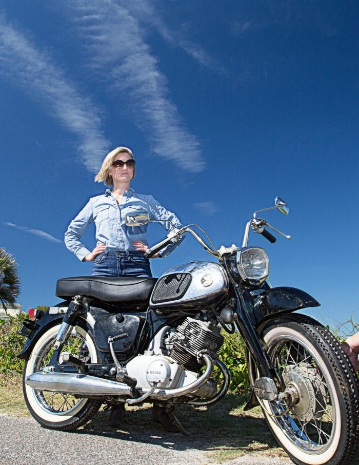 Gloria Hart with some attitude and a sweet 1965 Honda Dream motorcycle photo by Susan Scarborough