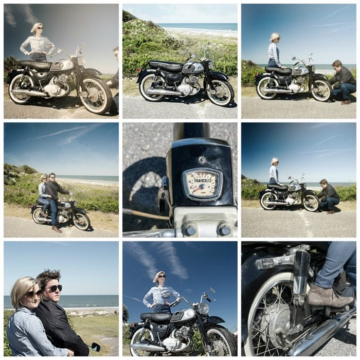 Collage with 1965 Honda Dream and the cool Harts photo by Susan Scarborough
