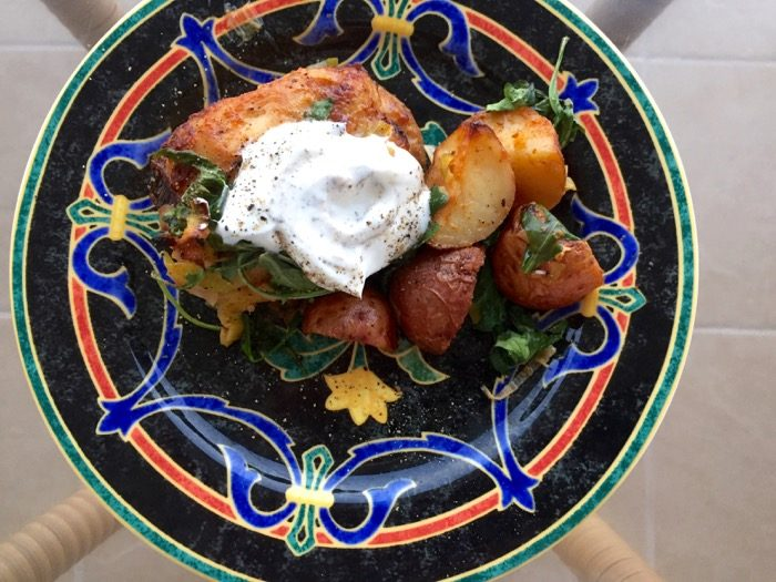 Roasted Chicken Thighs with Yogurt Sauce photo by Kathy Miller