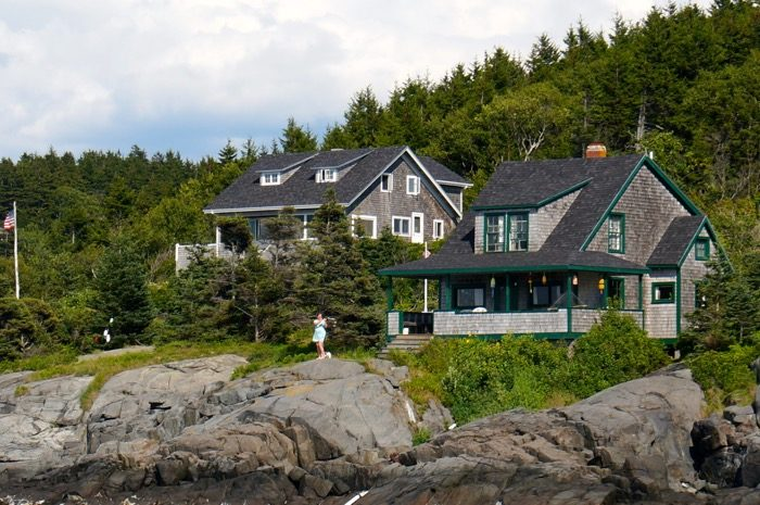 Waving in welcome to visiting guests Monheagan Island, Maine photo by Kathy Miller