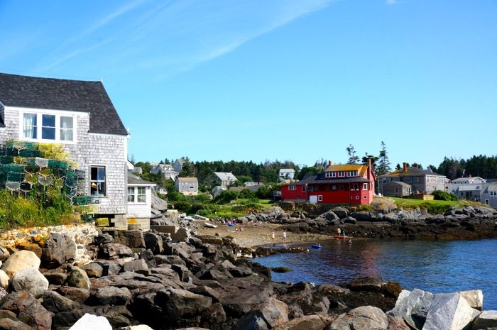 View of swimming beach from ferry dock Monhegan Island, Maine photo by Kathy Miller