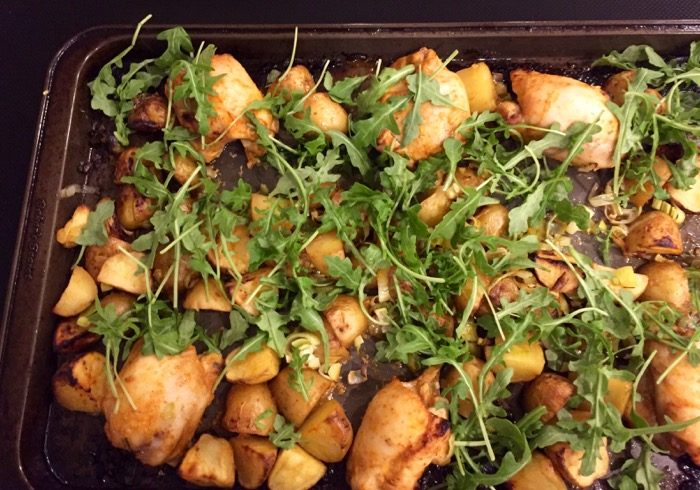 Roasted Chicken with Arugula and Yogurt Sauce photo by Kathy Miller