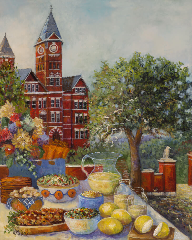 Tailgating At Toomers Corner painting by Kathy Miller