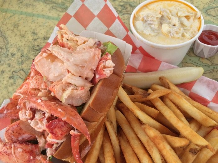 Lobster Roll and Seafood Chowder at Beal's in Southwest Harbor, Mt. Desert Maine photo by Kathy Miller