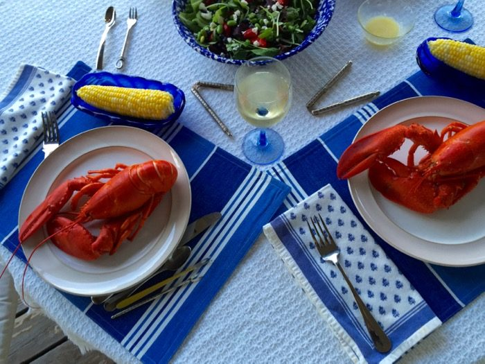 Lobsters from Perry's on our deck photo by Kathy Miller
