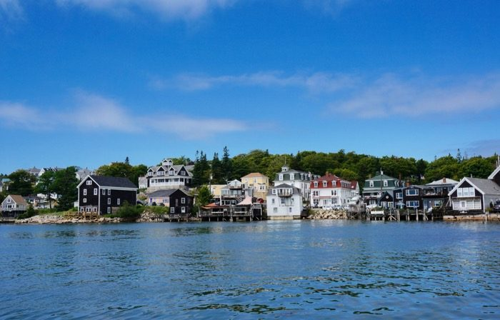 Stonington, Maine with many mansard roofs photo by Kathy Miller