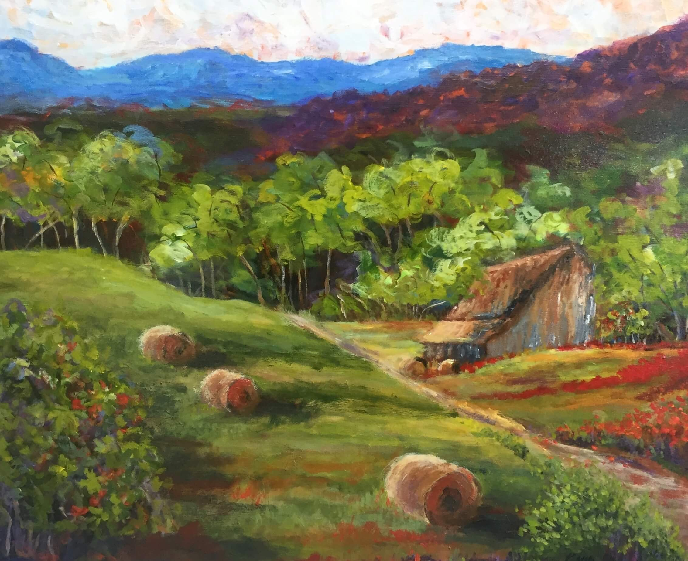 "A Mountain Barn 24"" x 30"" Acrylic on Canvas Original Painting by Kathy Miller"