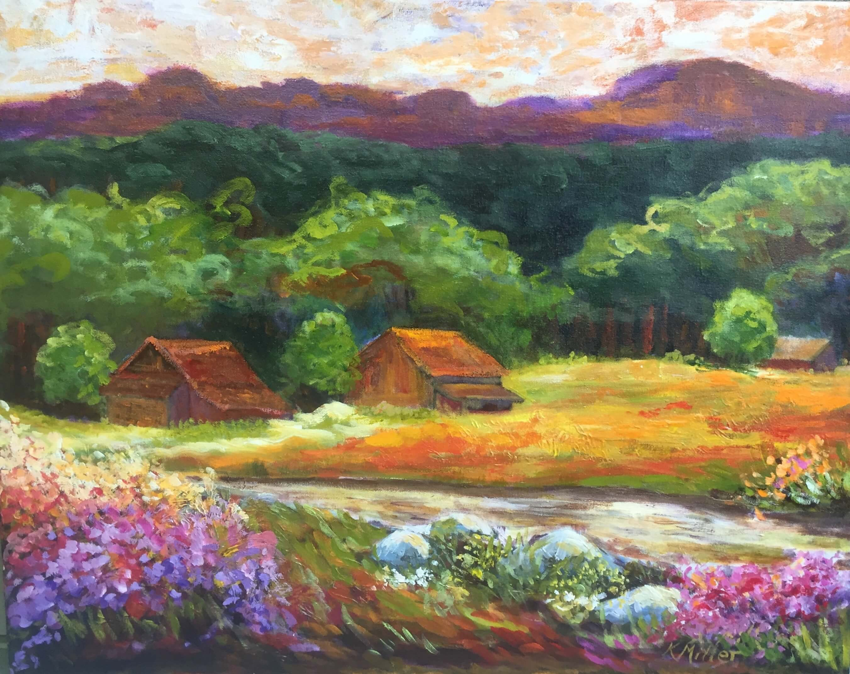 "A Mountain Brook and Meadow 22"" x 28"" Acrylic on Canvas Original Painting by Kathy Miller"