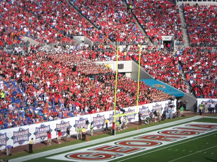 Georgia band and fans Florida/Georgia game in Jacksonville, Fl photo by Kathy Miller