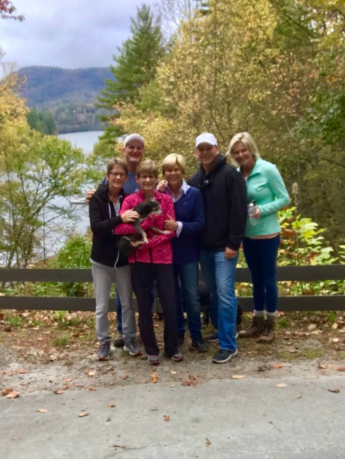Family and friends hiking Fairfield Lake in Cashiers, NC photo by Kathy Miller