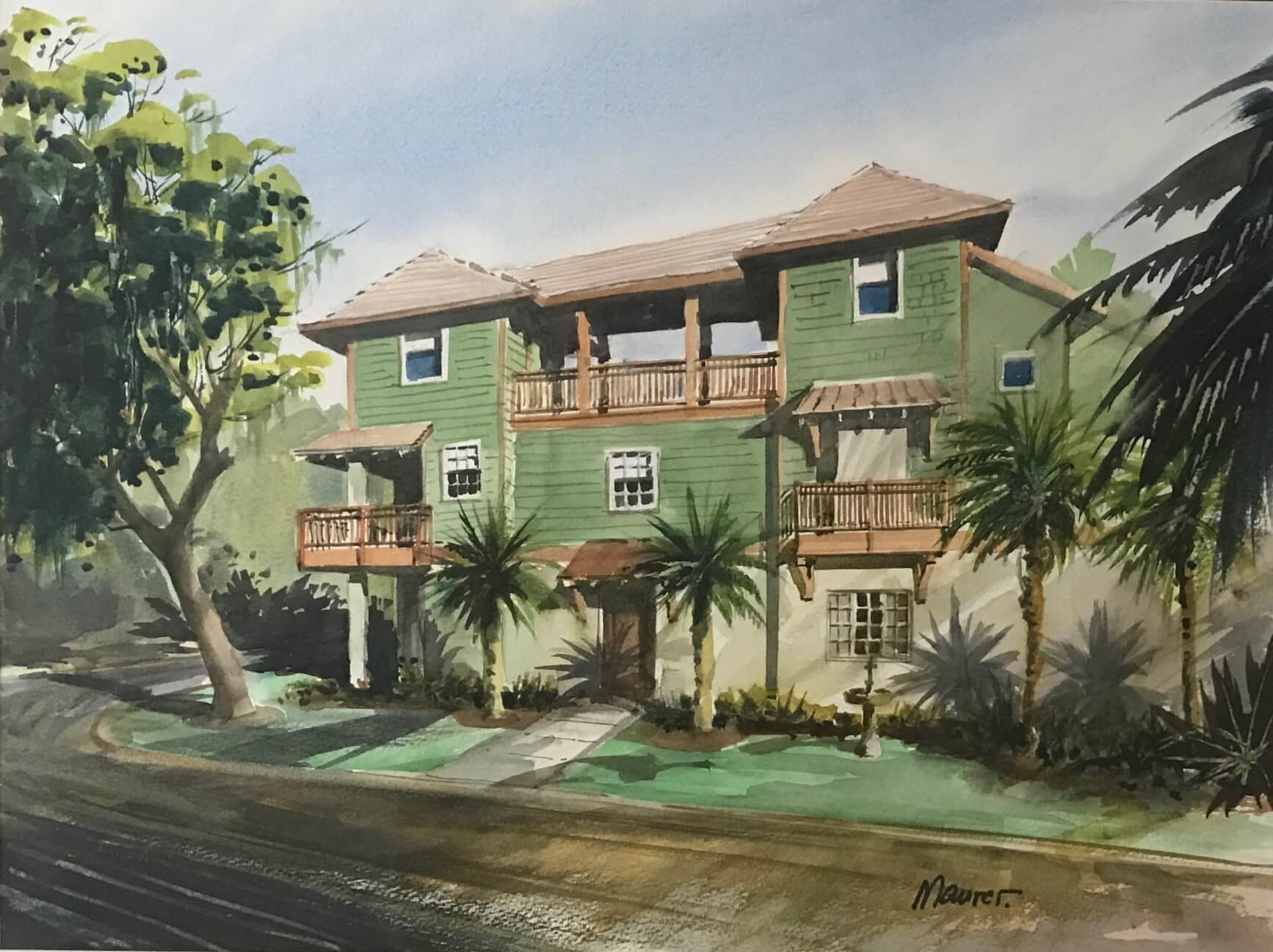 Martha and Rick's new house in Old Town painting by Bill Maurer