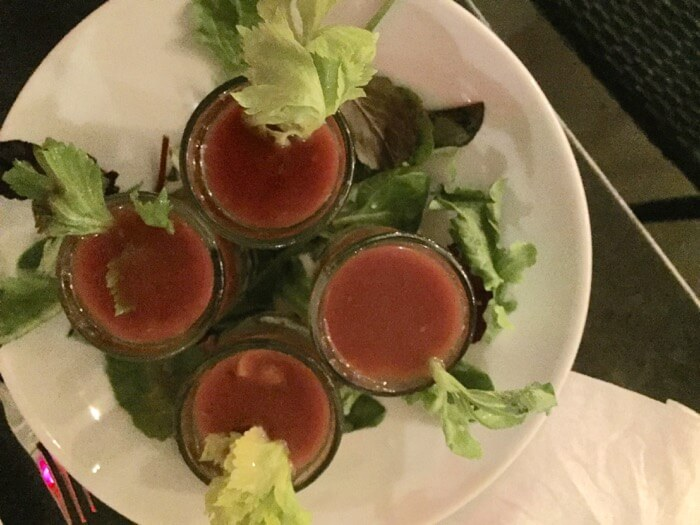 Oyster Shooter with Bloody Mary Mix and vodka photo by Kathy Miller