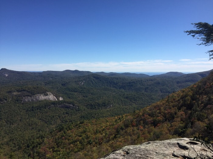 View from Devil's Courthouse, Whiteside Mountain photo by Kathy Miller