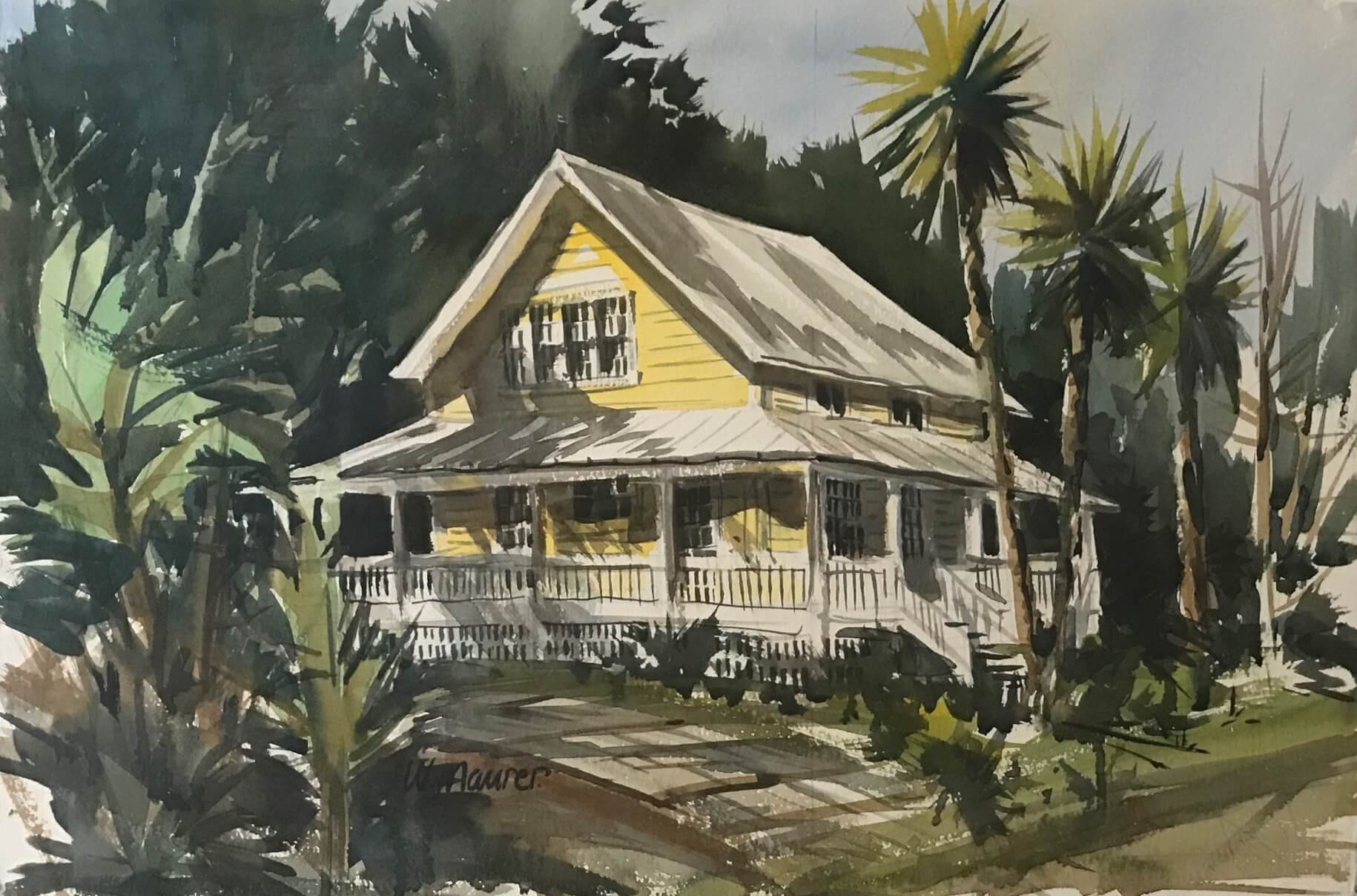 Yellow House on White Street in Old Town painting by Bill Mauer