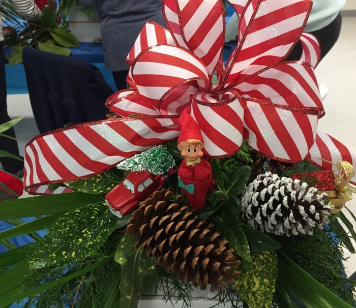 Elf, tree with gift and candy cane bow photo by Kathy Miller