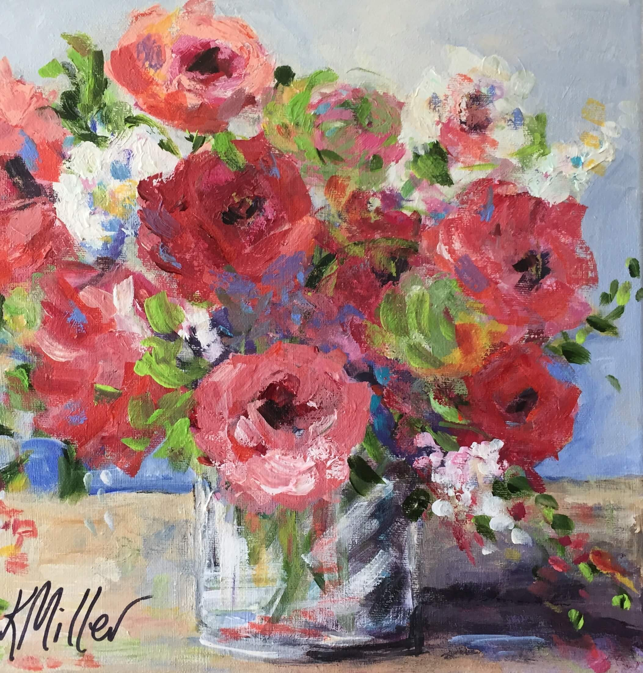 "Flowers 12""x12"" Acrylic on Canvas Original painting by Kathy Miller"
