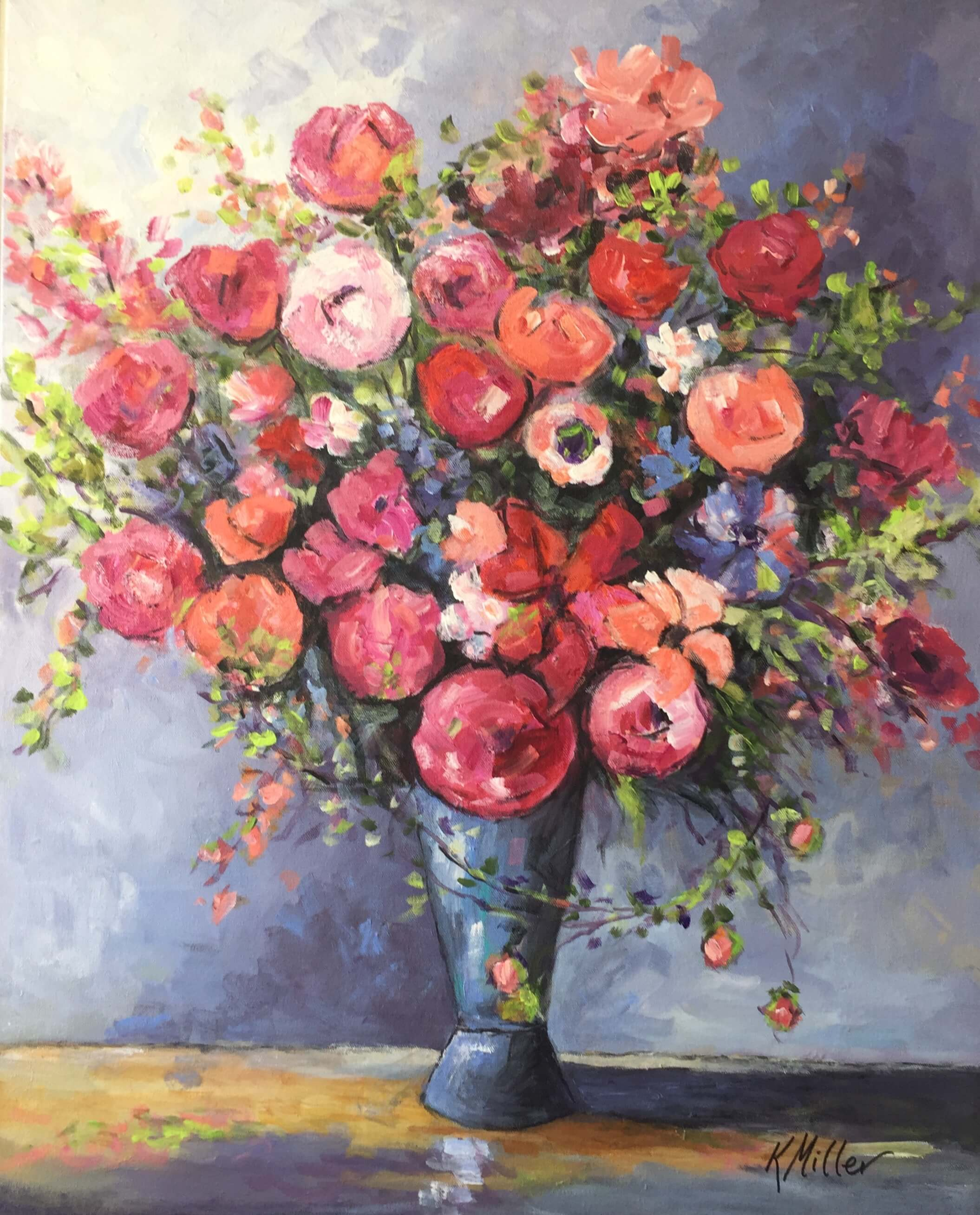 Free Spirited Flowers 24x30 Original Acrylic on Canvas by Kathy Miller