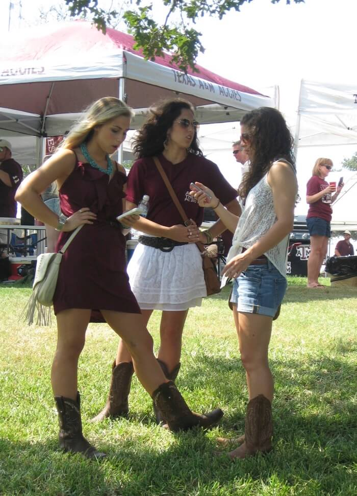 Lace and cowboy boots at Texas A&M photo by Kathy Miller