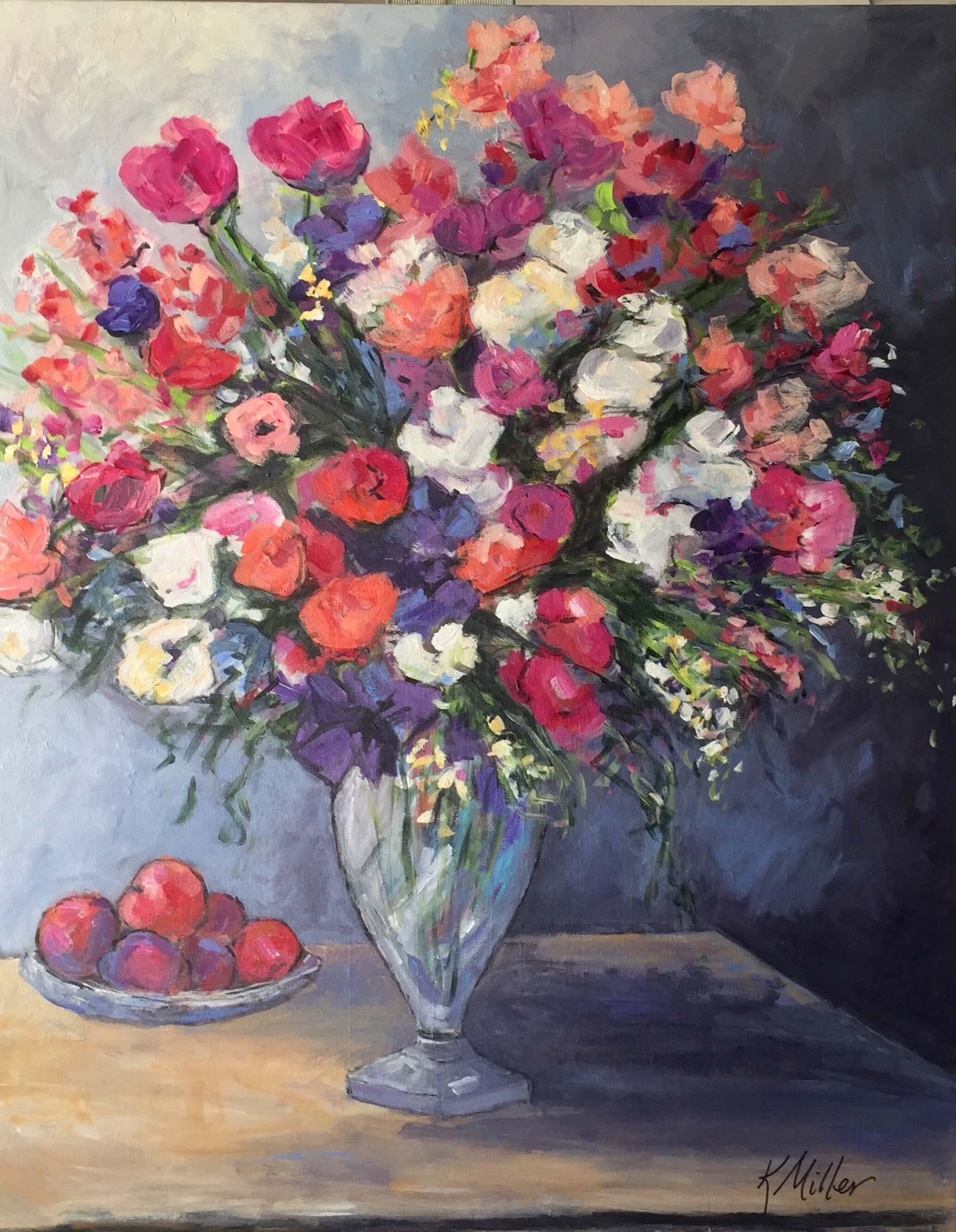Peonies and Tulips with Fruit original painting by Kathy Miller