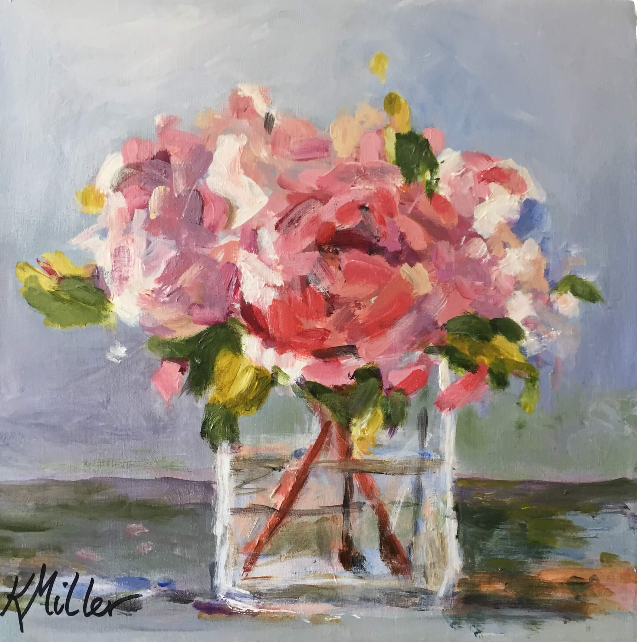 "Peonies 12""x12"" Acrylic on Canvas Original Kathy Miller painting"