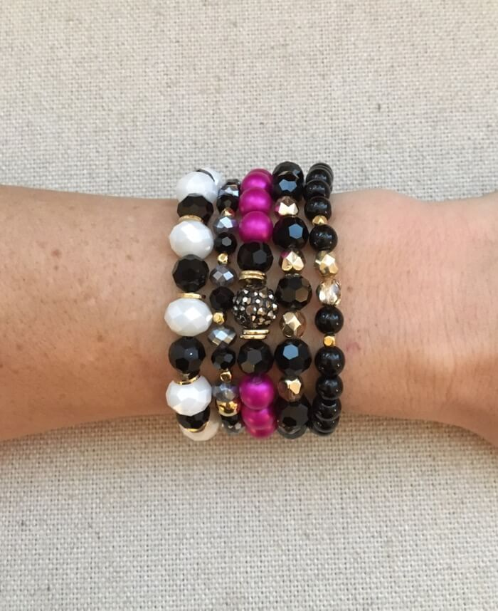 Holiday Pin and Black Bracelet Stack of 4