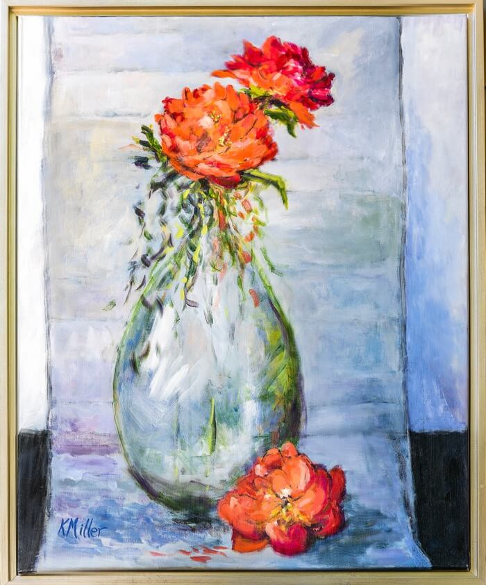 Peonies In Bottle II original acrylic painting by Kathy Miller photo by Steve Leimberg