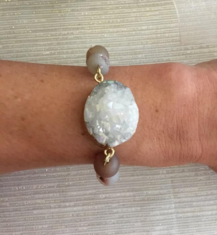 White Crystal Druzy Bracelet