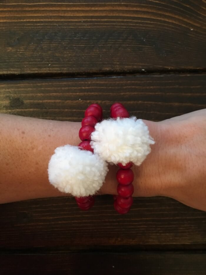Alabama Crimson and White Pom Pom Bracelets