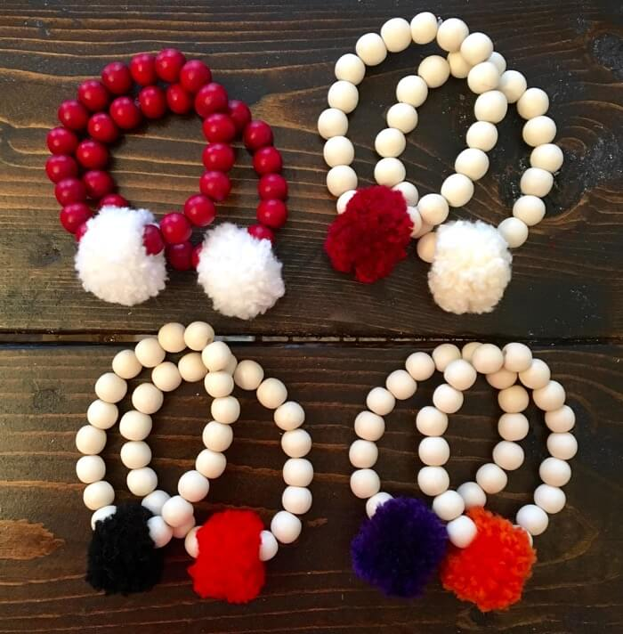Alabama, Oklahoma, Georgia, Clemson Pom Pom Bracelets