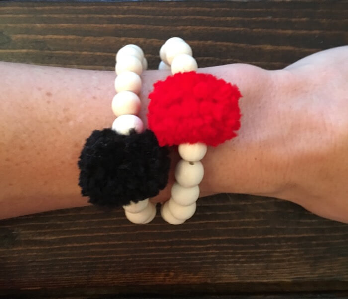 Georgia Red and Black Pom Pom Bracelet