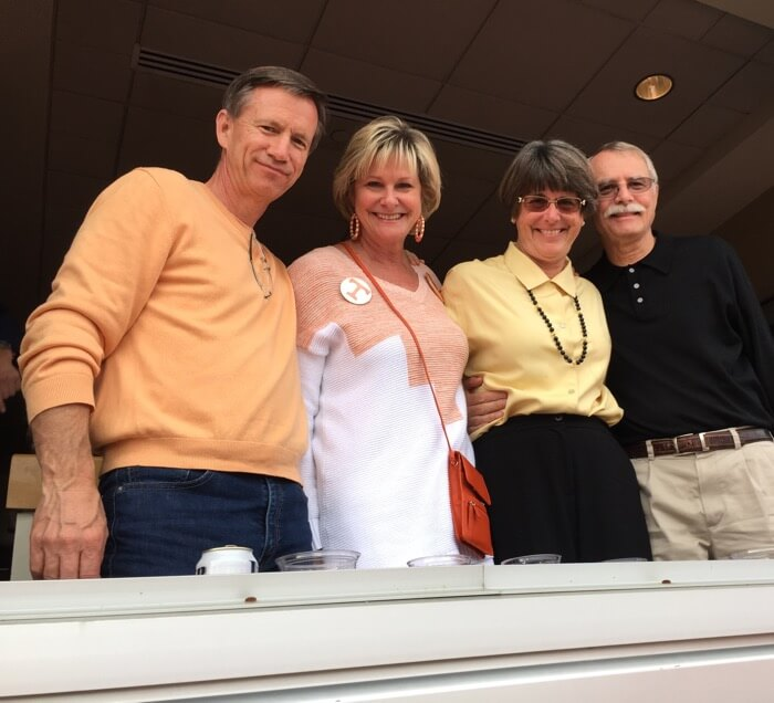 Dave, Kathy, Sue and Steve Tennessee Iowa Bowl game in Jacksonville photo by Kathy Miller