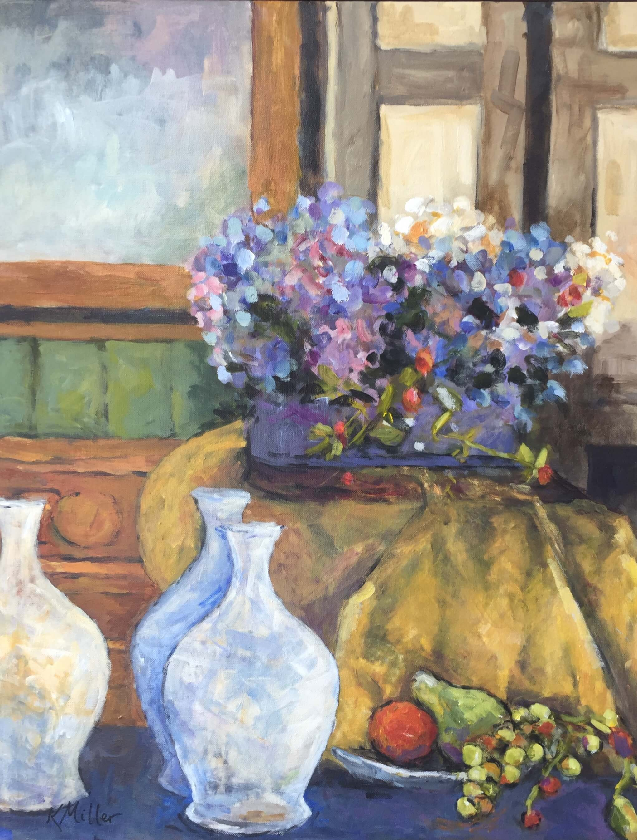 Hydrangeas With Bottles And Fruit Original Painting by Kathy Miller