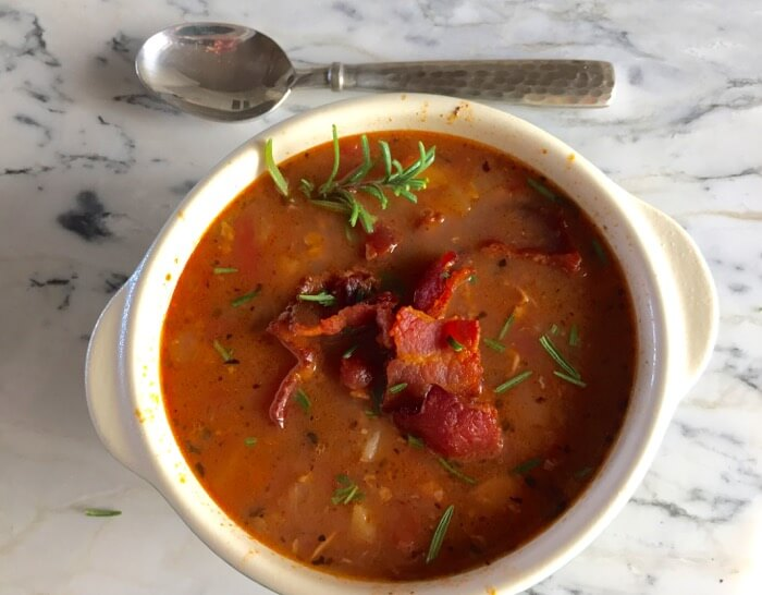 Minorcan Clam Chowder with Datil Peppers and bacon photo by Kathy Miller