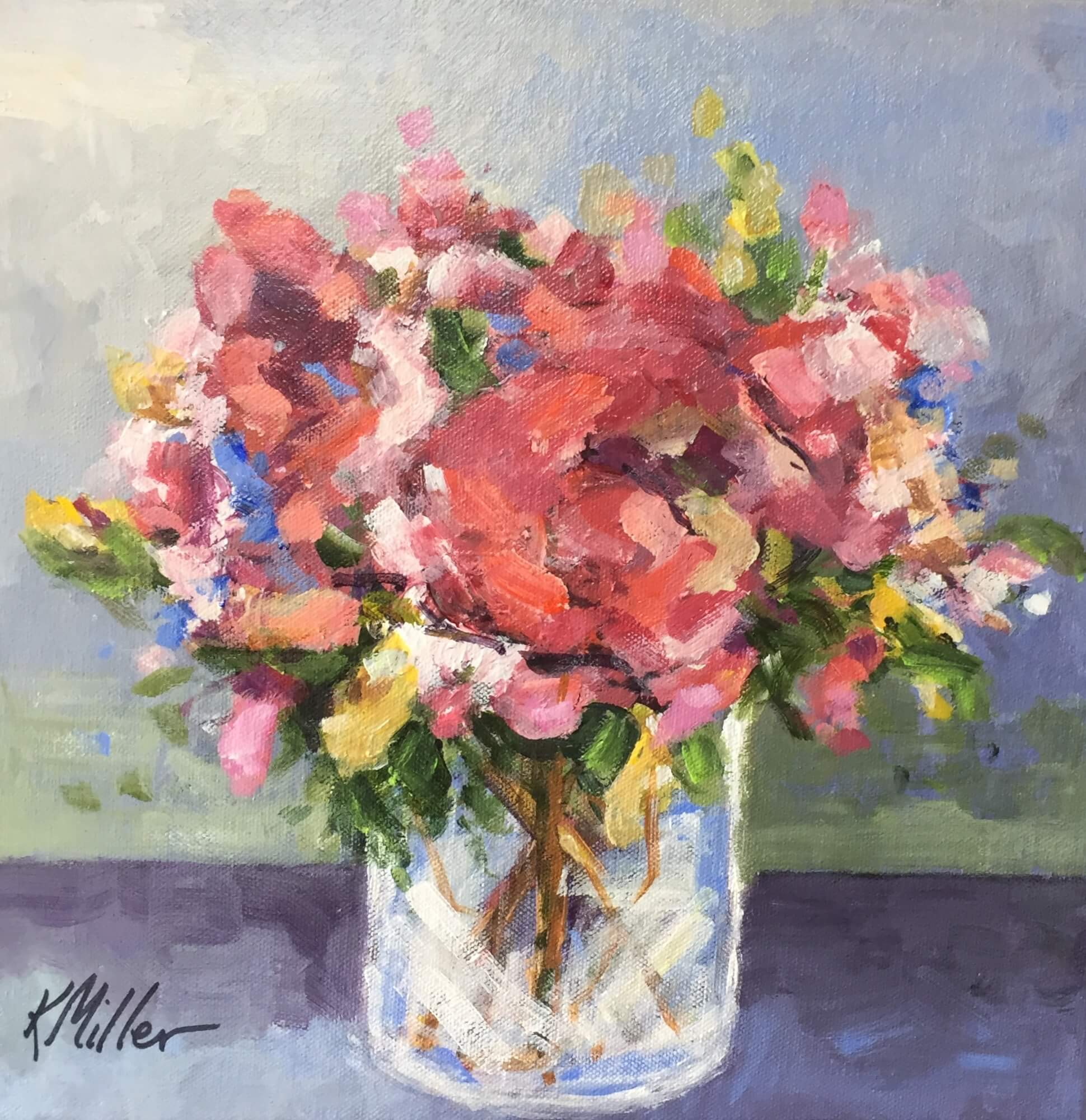 PEONIES II Acrylic on Canvas Original Painiting by Kathy Miller