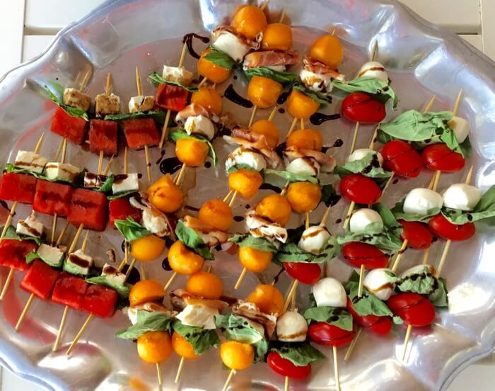 Watermelon, Feta, Cantaloupe, Proscuitto and Tomato Caprese Skewers photo by Kathy Miller