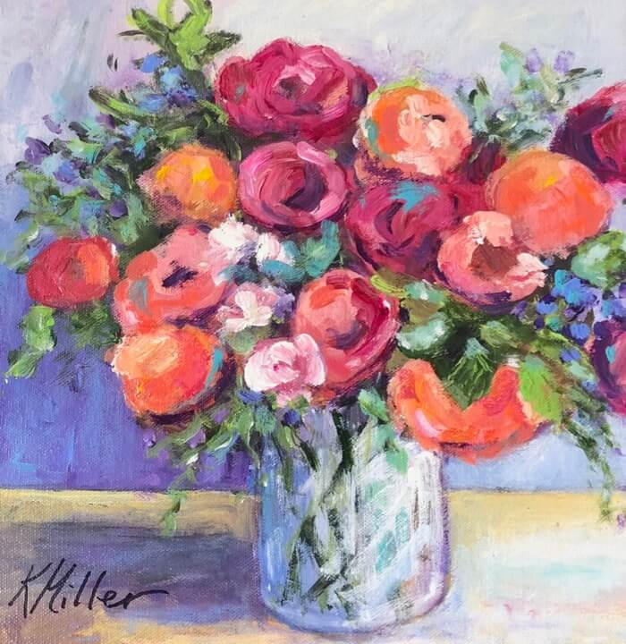 "Peonies, Tulips and Sweet Peas 12""x12"" Acrylic on Canvas Original Painting by Kathy Miller"