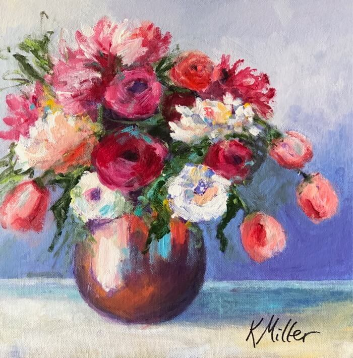 "Tulips and Dahlias 12""x12"" Acrylic on Canvas original painting by Kathy Miller"