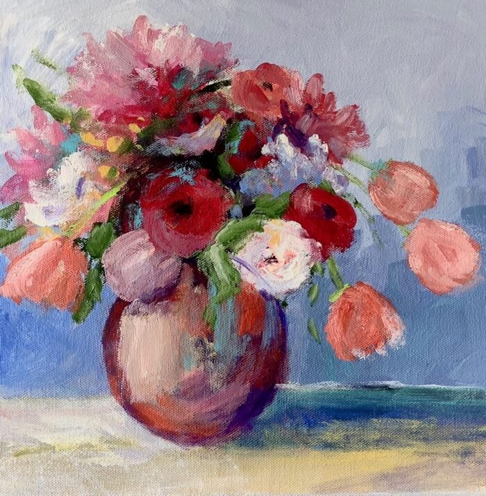 Tulips and Dahlias Round 1 painting by Kathy Miller