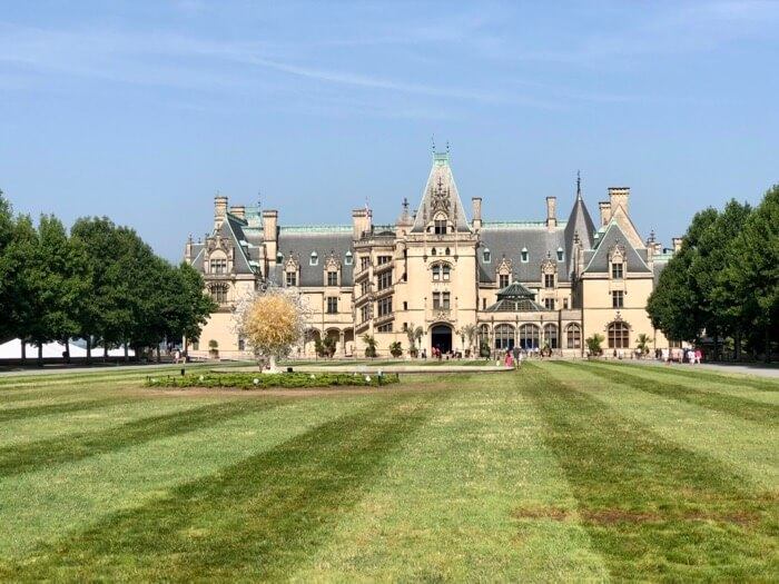Biltmore Estate, Asheville, NC the house! with Chihuly Sculpture anchoring the front lawn photo by Kathy Miller