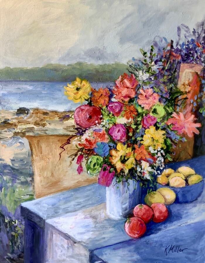 "Flowers and Fruit On The Coast of Maine, an original 24""x30"" acrylic painting by Kathy Miller"