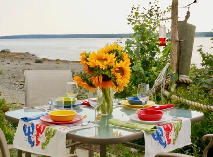 Flowers and Tablescate from the coast of Maine photo by Kathy Miller