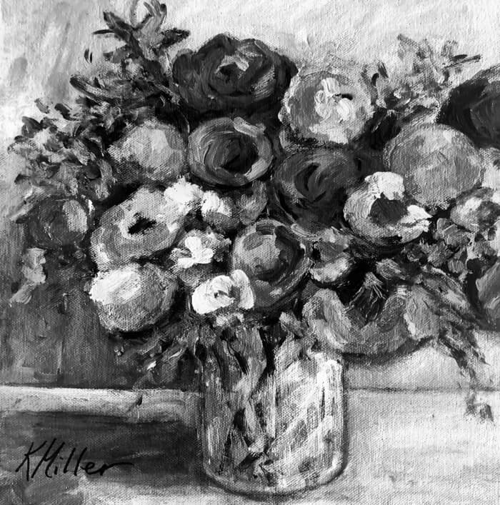 Peonies, Tulips and Sweet Peas Black and white photo of painting by Kathy Miller
