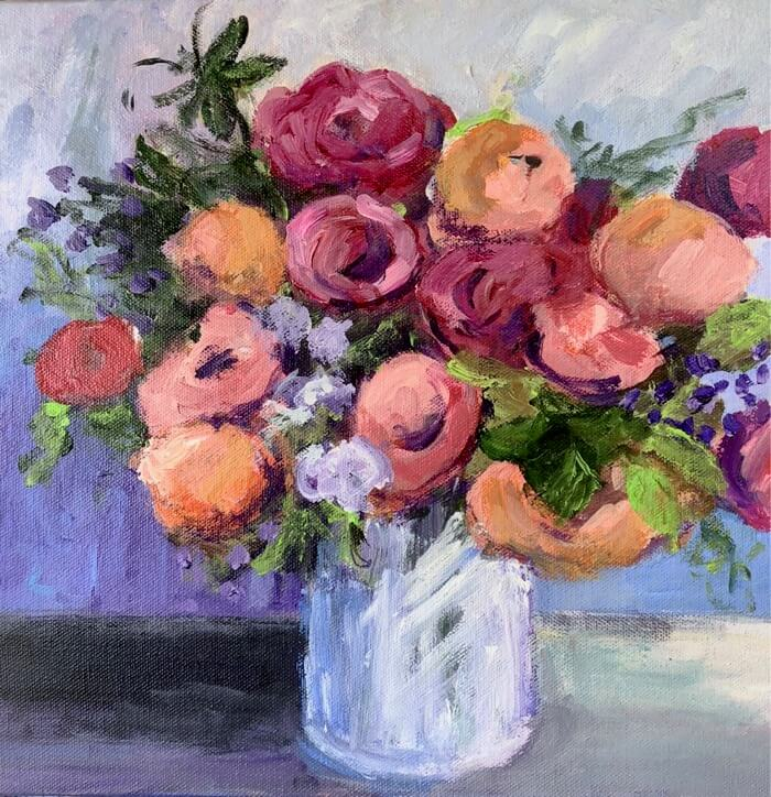 Peonies, Tulips and Sweet Peas Round 1 by Kathy Miller