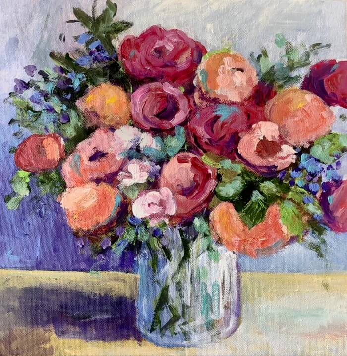 Peonies, Tuilips and Sweet Peas round 2 painting by Kathy Miller