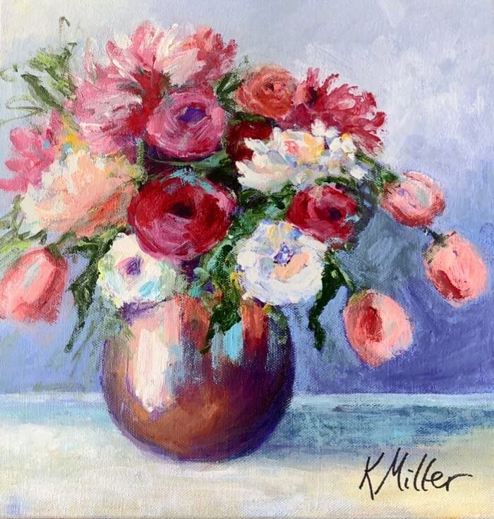 Tulips and Dahlias in great vessel original acrylic painting by Kathy Miller