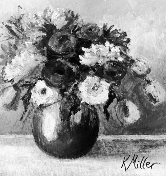 Tulips and Dahlias in Vase Black and White photo by Kathy Miller