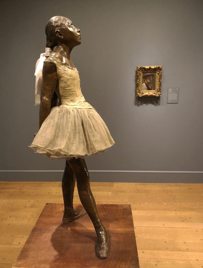 Edgar Degas-Little Dancer Bronze with gauze tutu and silk ribbon