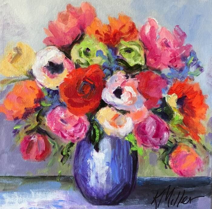 Flowers in Blue Vase-Final 12x12 Acylic on Canvas original painting by Kathy Miller